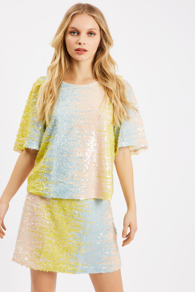 Traffic People Sequin Pastel Mini Skirt in Blue and Yellow Front View Image