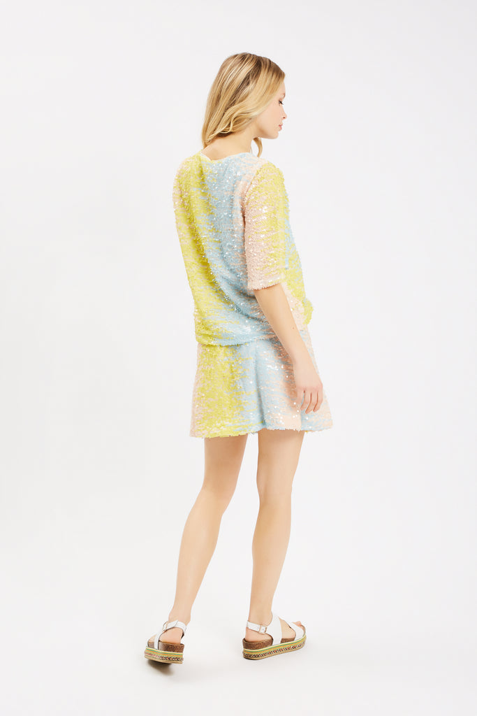 Traffic People Sequin Pastel Mini Skirt in Blue and Yellow Back View Image