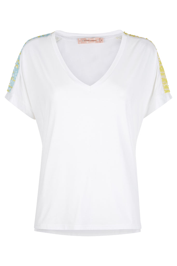 Traffic People Pastel Dreams Sequin T-Shirt in Blue and Yelow Front View Image