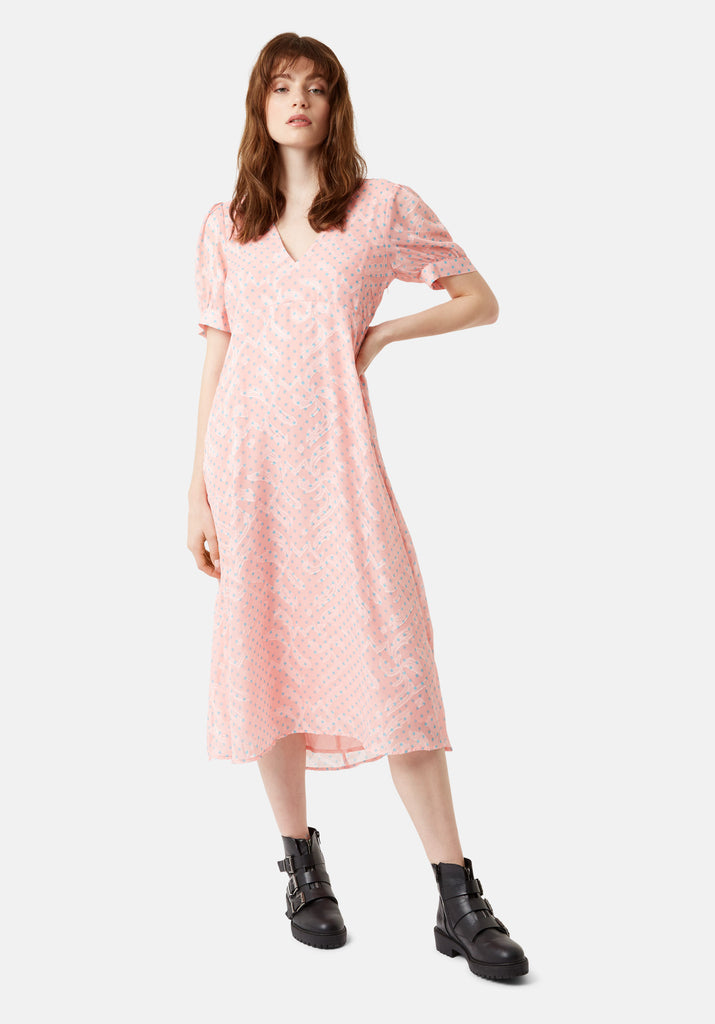 Traffic People Mia Midi Dress in Pink Front View Image