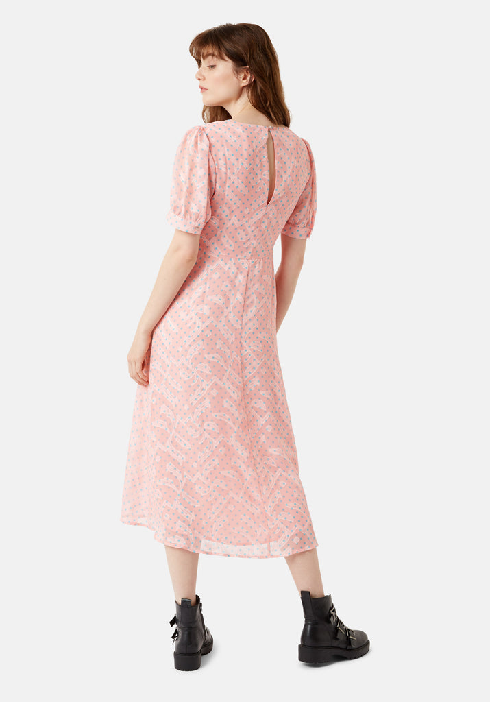 Traffic People Mia Midi Dress in Pink Side View Image