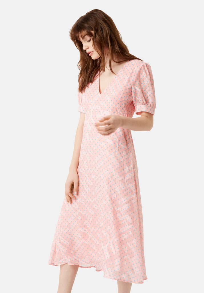 Traffic People Mia Midi Dress in Pink Back View Image