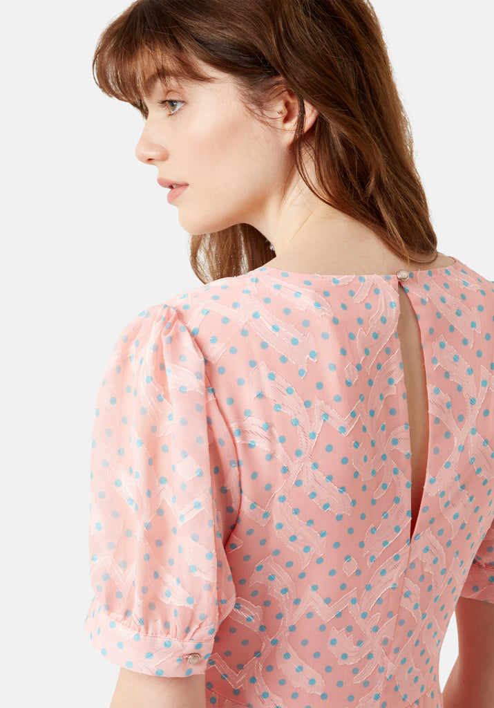 Traffic People Mia Midi Dress in Pink Close Up Image