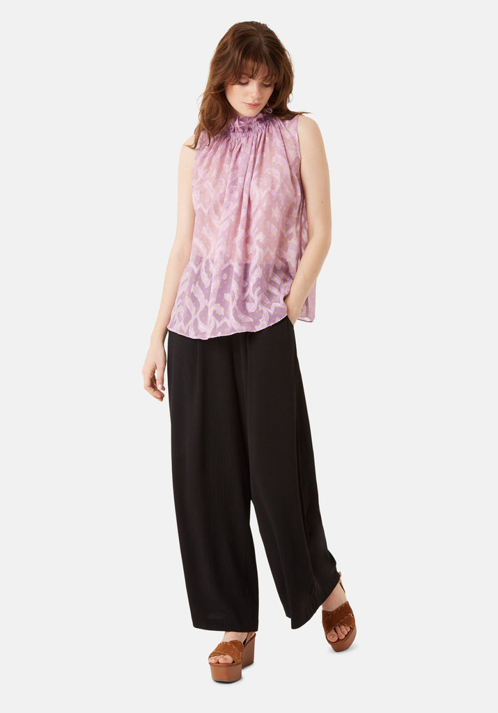 Traffic People Sleevless Falls Top in Purple Polkadot Print Front View Image