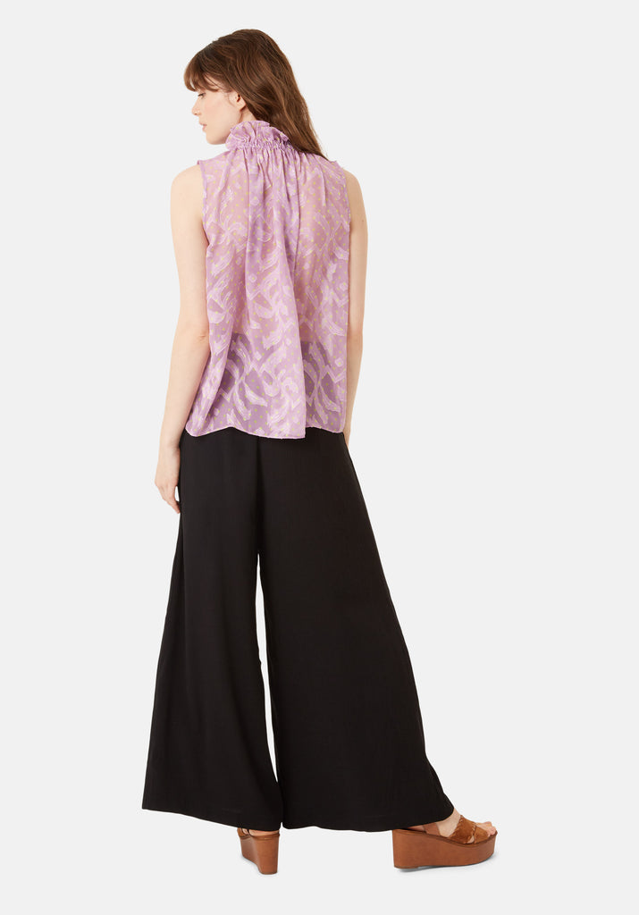 Traffic People Sleevless Falls Top in Purple Polkadot Print Side View Image