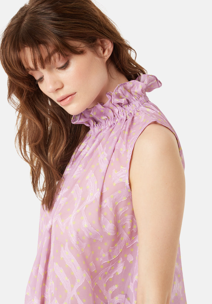 Traffic People Sleevless Falls Top in Purple Polkadot Print Close Up Image
