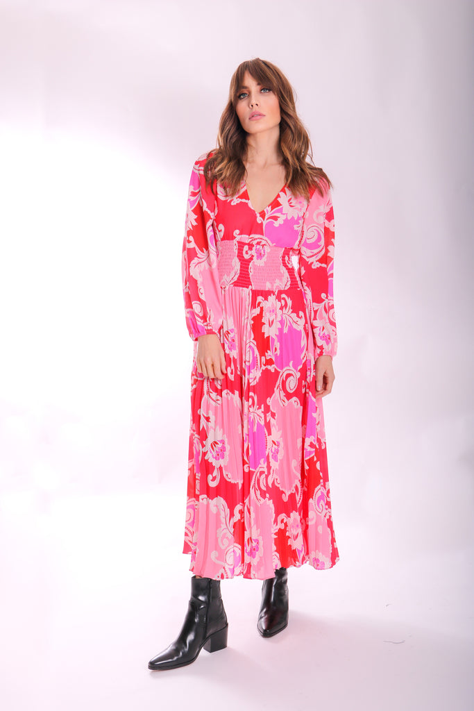 Traffic People Paisley Printed Aurora Midi Dress in Pink Front View Image