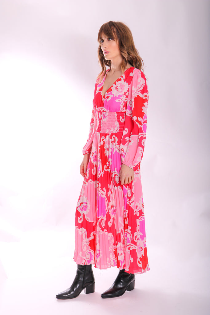 Traffic People Paisley Printed Aurora Midi Dress in Pink Side View Image