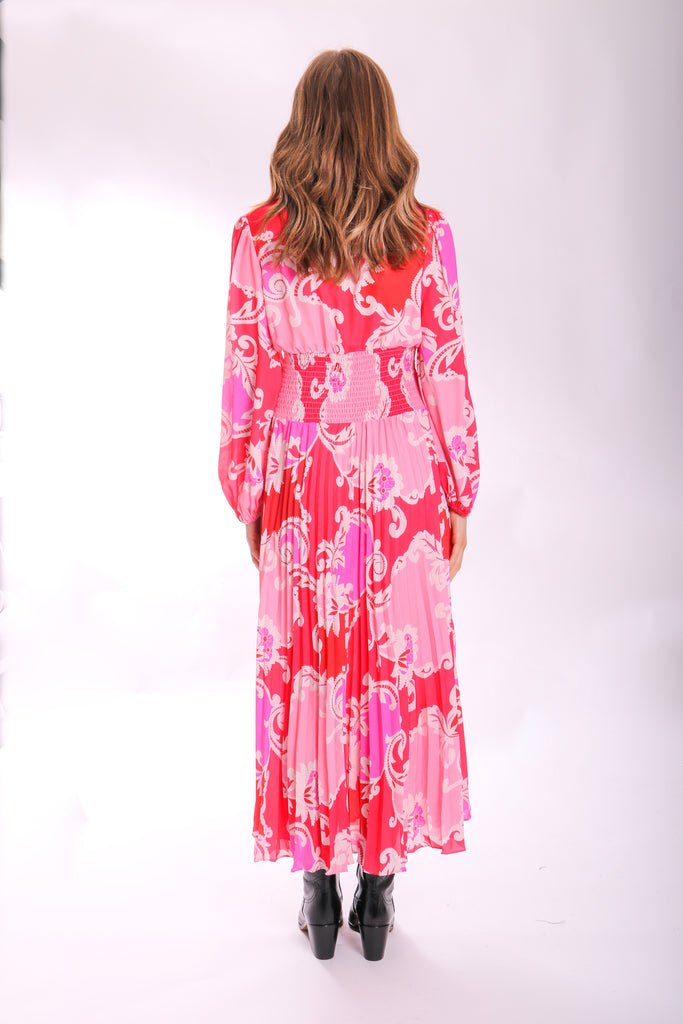 Traffic People Paisley Printed Aurora Midi Dress in Pink Back View Image