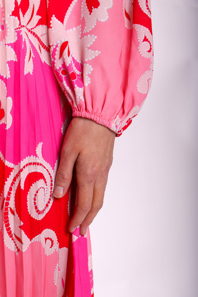 Traffic People Paisley Printed Aurora Midi Dress in Pink Close Up Image