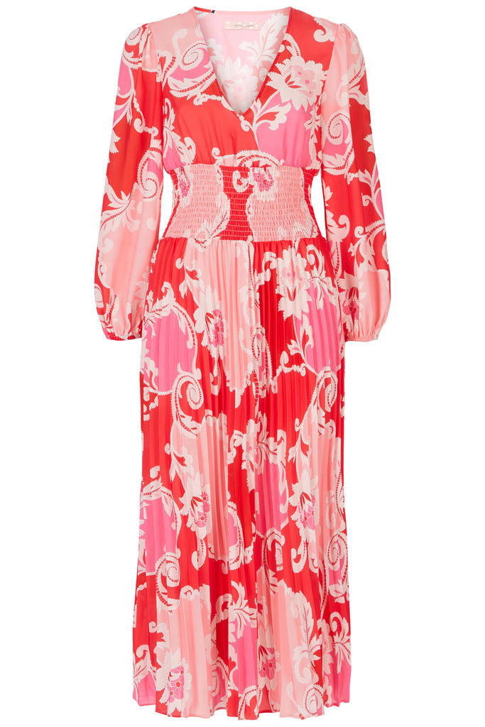 Traffic People Paisley Printed Aurora Midi Dress in Pink FlatShot Image