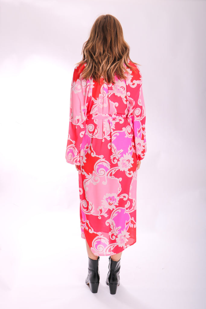 Traffic People Silenced Midi Long Sleeve Dress in Pink Paisley Print Back View Image
