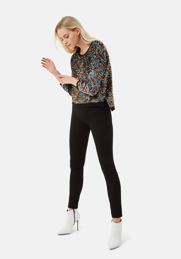 Traffic People Long Sleeve Sequin Embelished PLT Jumper in Black Front View Image