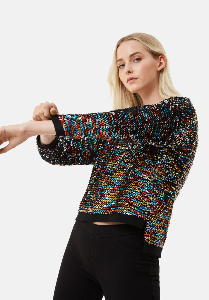 Traffic People Long Sleeve Sequin Embelished PLT Jumper in Black Side View Image