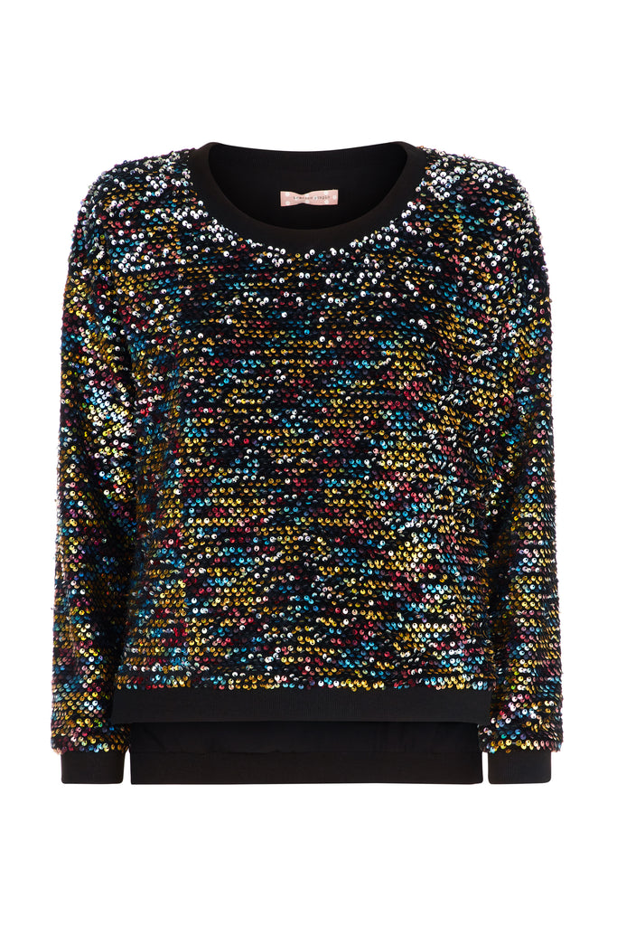 Traffic People Long Sleeve Sequin Embelished PLT Jumper in Black FlatShot Image