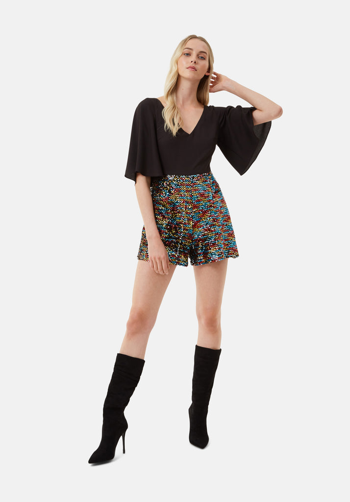 Traffic People Short Sleeve Sequin Embelished Dory Playsuit in Black Front View Image