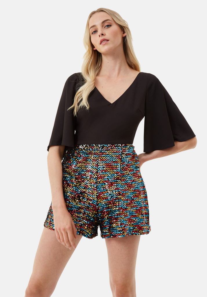 Traffic People Short Sleeve Sequin Embelished Dory Playsuit in Black Side View Image