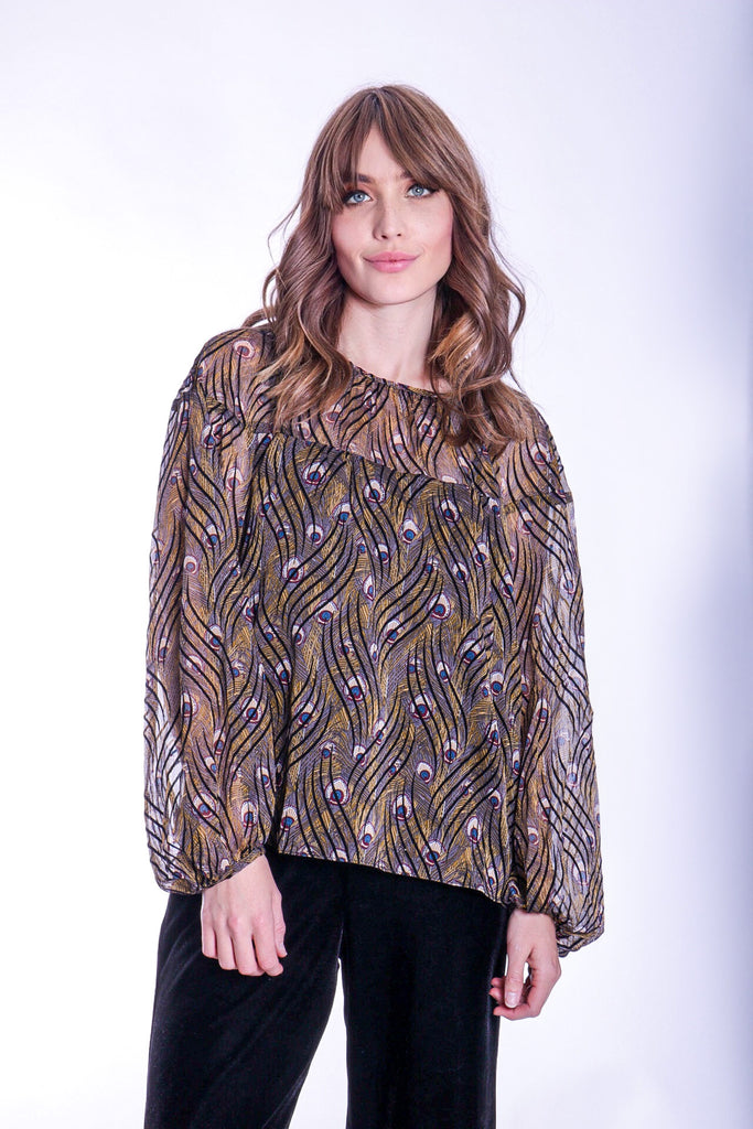 Traffic People Billow Feather Print Long Sleeve Top in Gold Front View Image
