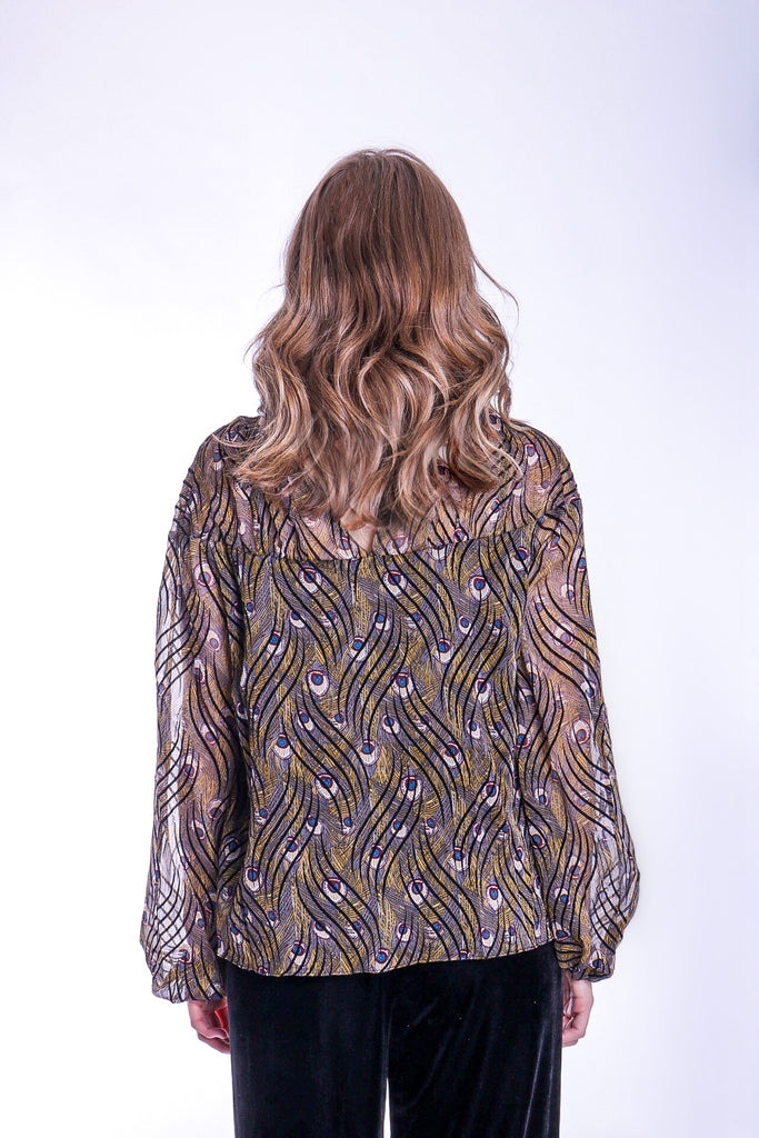 Traffic People Billow Feather Print Long Sleeve Top in Gold Side View Image