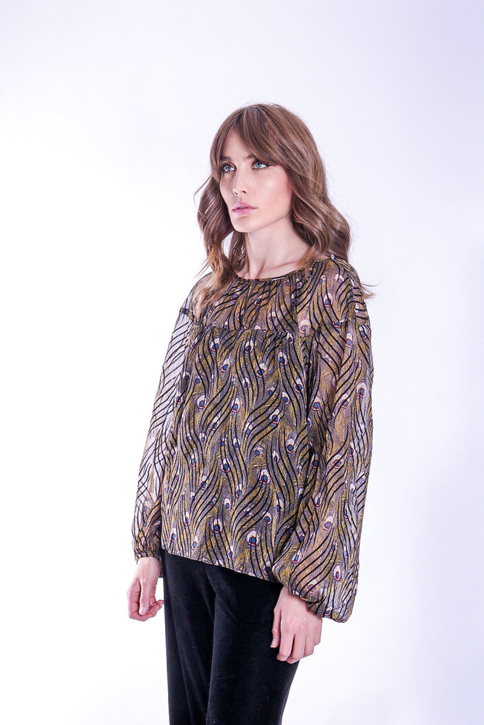 Traffic People Billow Feather Print Long Sleeve Top in Gold Close Up Image