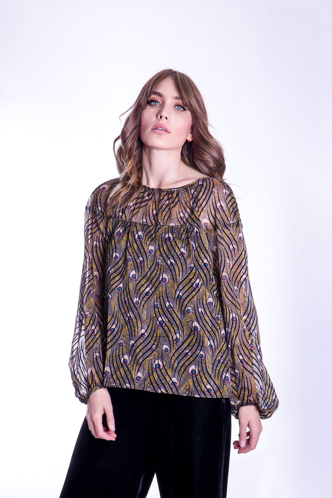 Traffic People Billow Feather Print Long Sleeve Top in Gold FlatShot Image