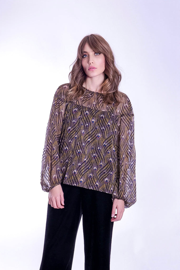 Billow Feather Print Long Sleeve Top in Gold