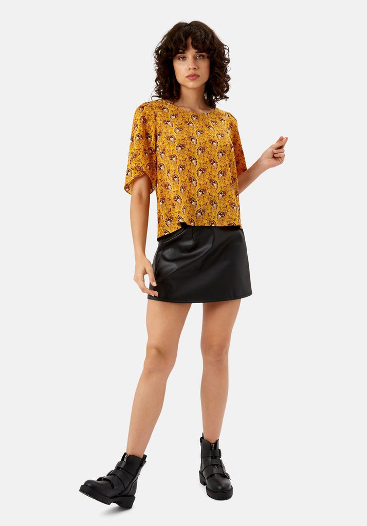 Traffic People Paisley Whisper Top in Yellow Side View Image