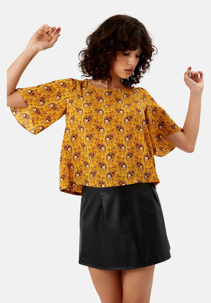 Traffic People Paisley Whisper Top in Yellow Front View Image