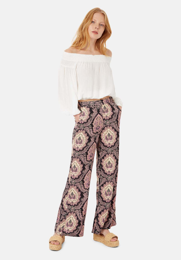 Traffic People Paisley Straight Leg Trousers in Black and Purple Front View Image