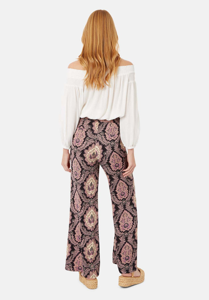 Traffic People Paisley Straight Leg Trousers in Black and Purple Side View Image