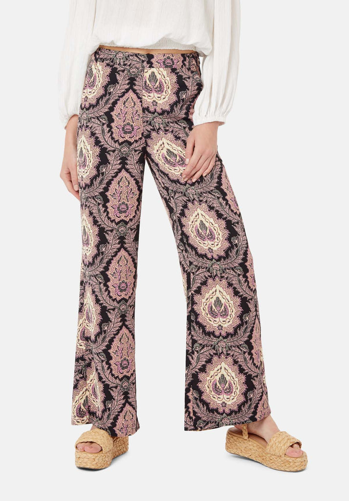 Traffic People Paisley Straight Leg Trousers in Black and Purple Back View Image