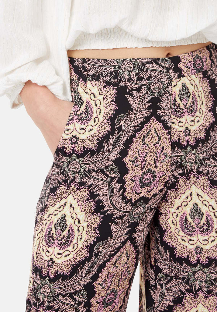 Traffic People Paisley Straight Leg Trousers in Black and Purple Close Up Image