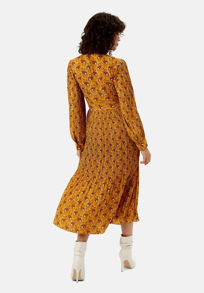 Traffic People Paisley Print Fallen Maxi Dress in Yellow Side View Image
