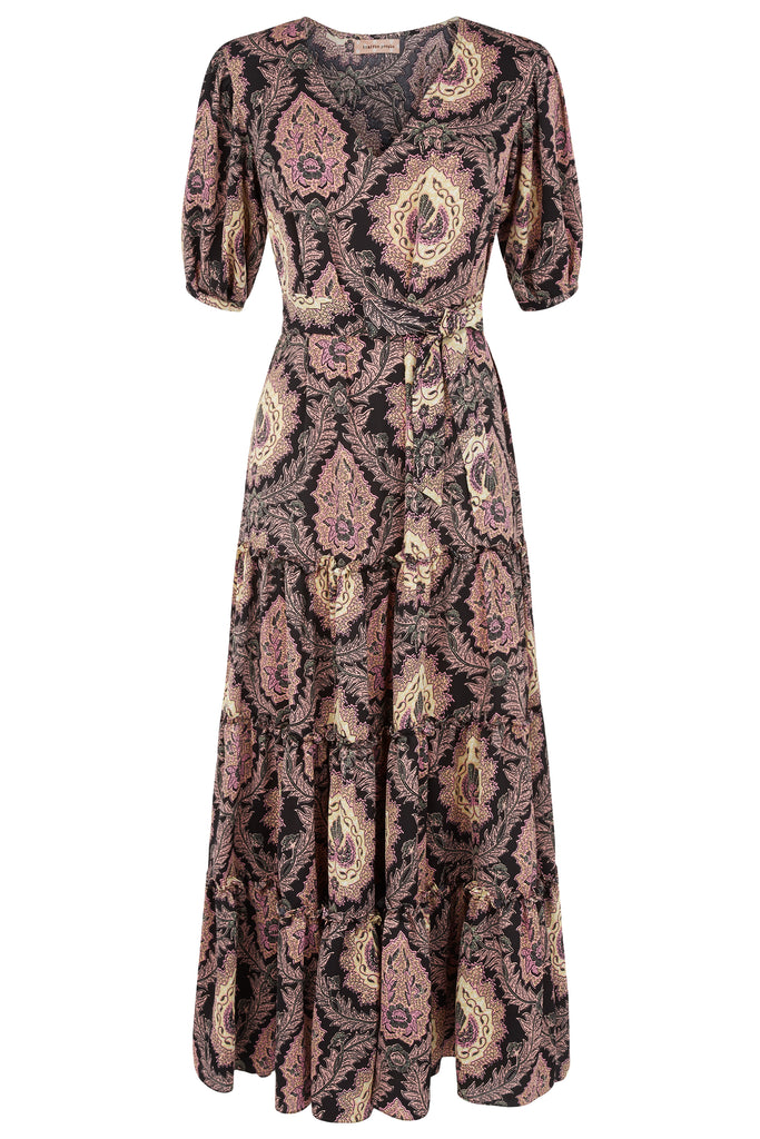 Traffic People Felicitations Paisley Print Maxi Dress in Black and Purple FlatShot Image