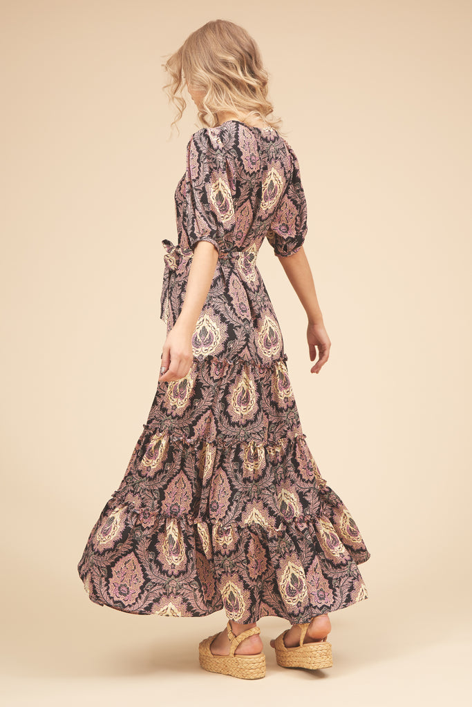 Traffic People Felicitations Paisley Print Maxi Dress in Black and Purple Side View Image