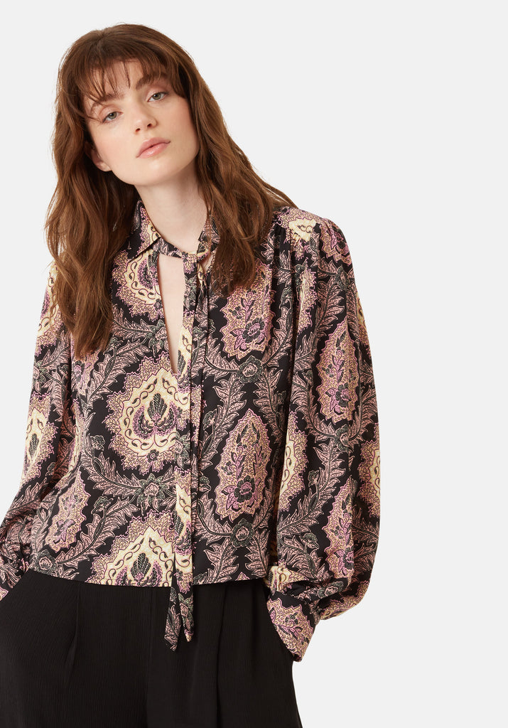 Traffic People Maisie Paisley Chiffon Blouse in Black and Purple Close Up Image
