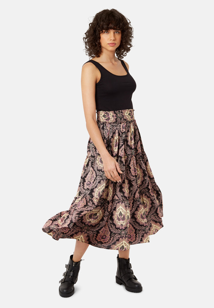 Traffic People Bell On Her Toes Paisley Boho Skirt in Black and Purple Front View Image