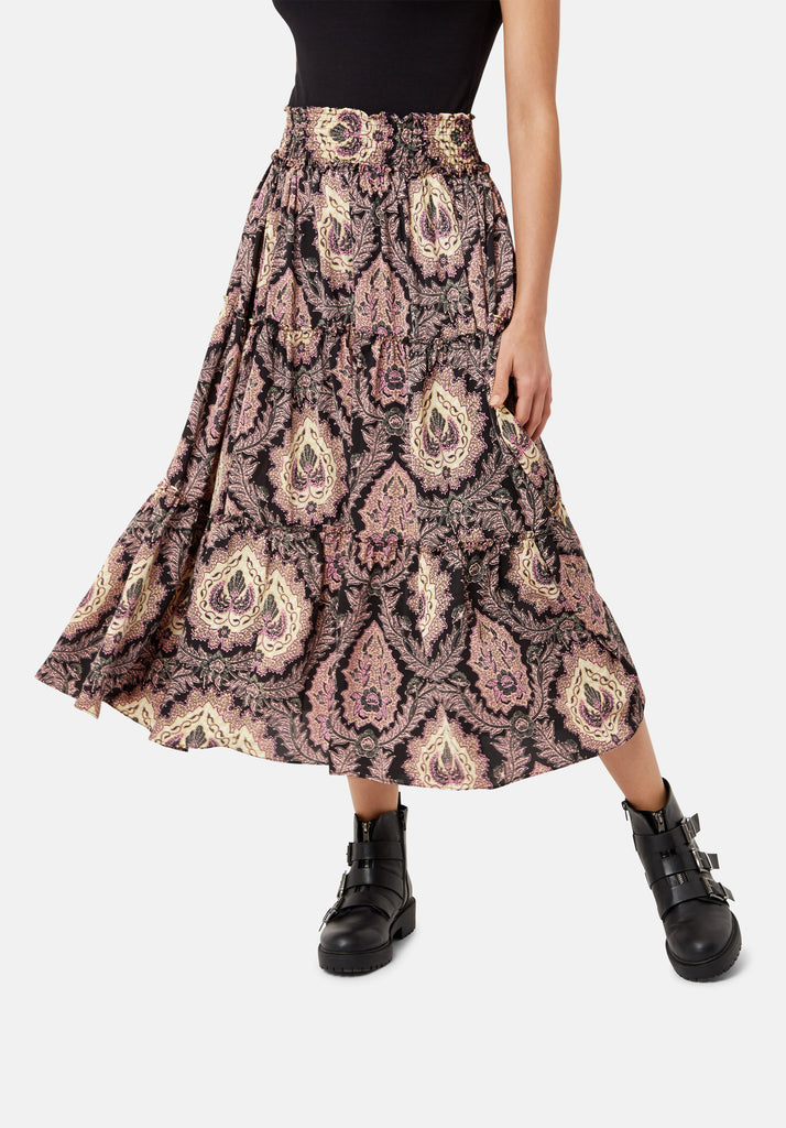 Traffic People Bell On Her Toes Paisley Boho Skirt in Black and Purple Back View Image