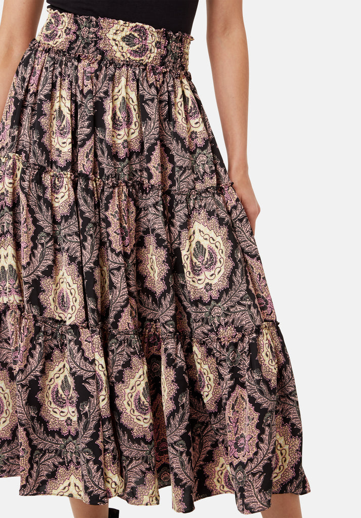 Traffic People Bell On Her Toes Paisley Boho Skirt in Black and Purple Close Up Image
