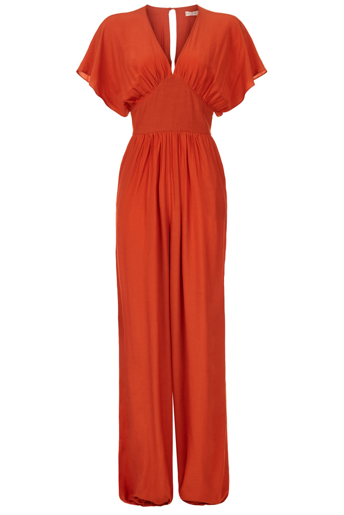 Traffic People Genie Capsleeve V-neck Jumpsuit in Red Front View Image