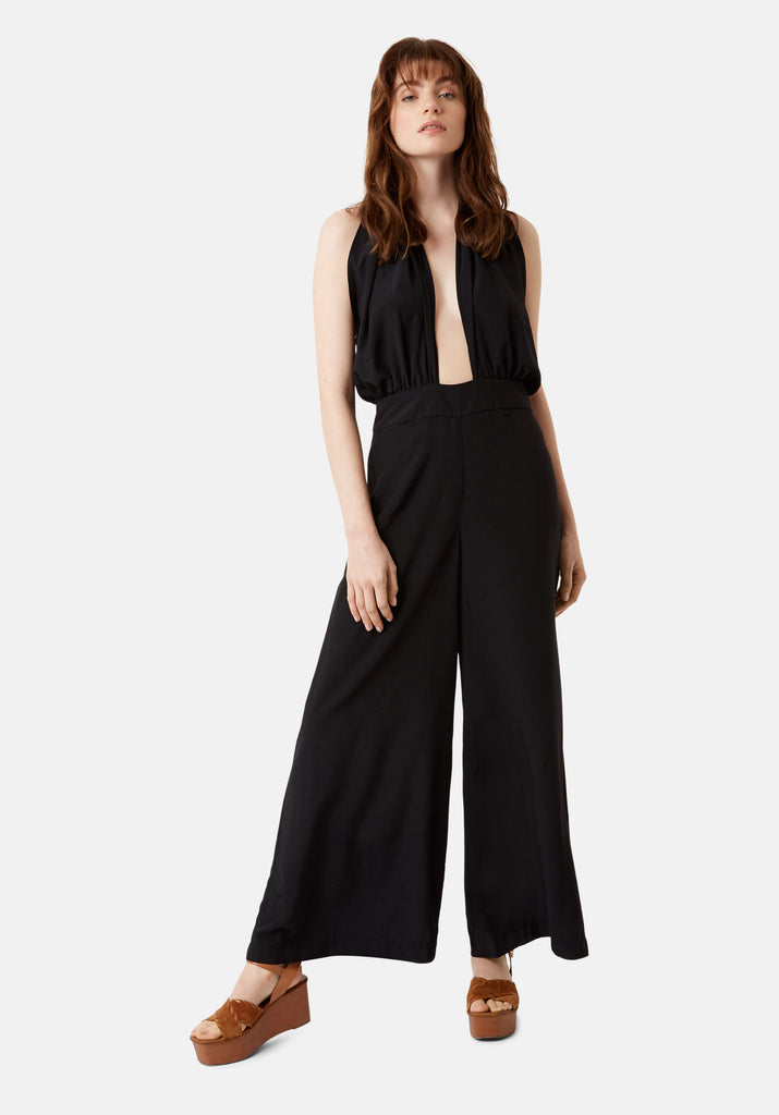 Traffic People Miami Halterneck 70s Jumpsuit in Black Front View Image