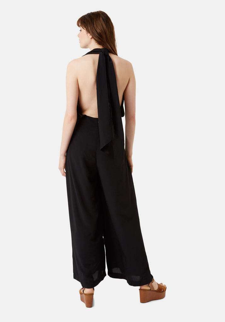 Traffic People Miami Halterneck 70s Jumpsuit in Black Side View Image