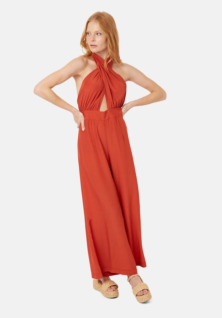 Traffic People Miami Halterneck Wide Leg  Jumpsuit in Red Front View Image