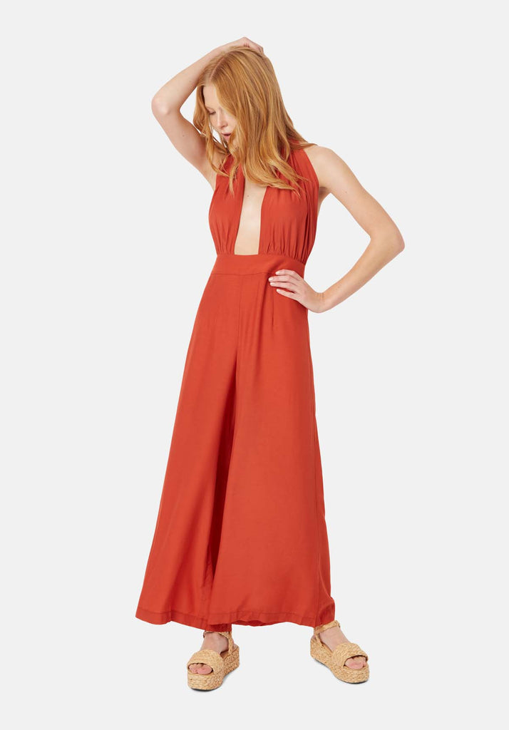 Traffic People Miami Halterneck Wide Leg  Jumpsuit in Red Back View Image