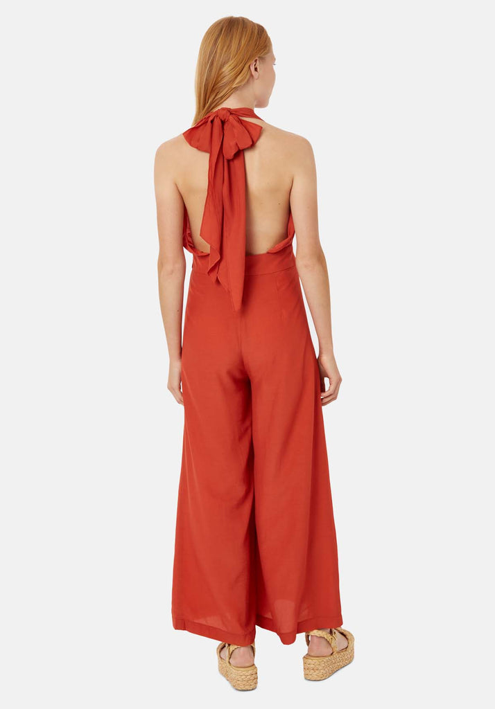 Traffic People Miami Halterneck Wide Leg  Jumpsuit in Red Side View Image