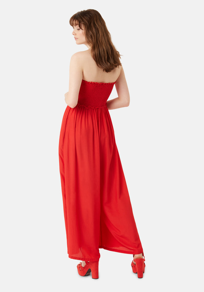 Traffic People Strapless Wide Leg Smock Jumpsuit in Red Side View Image