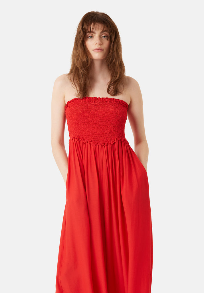 Traffic People Strapless Wide Leg Smock Jumpsuit in Red Back View Image