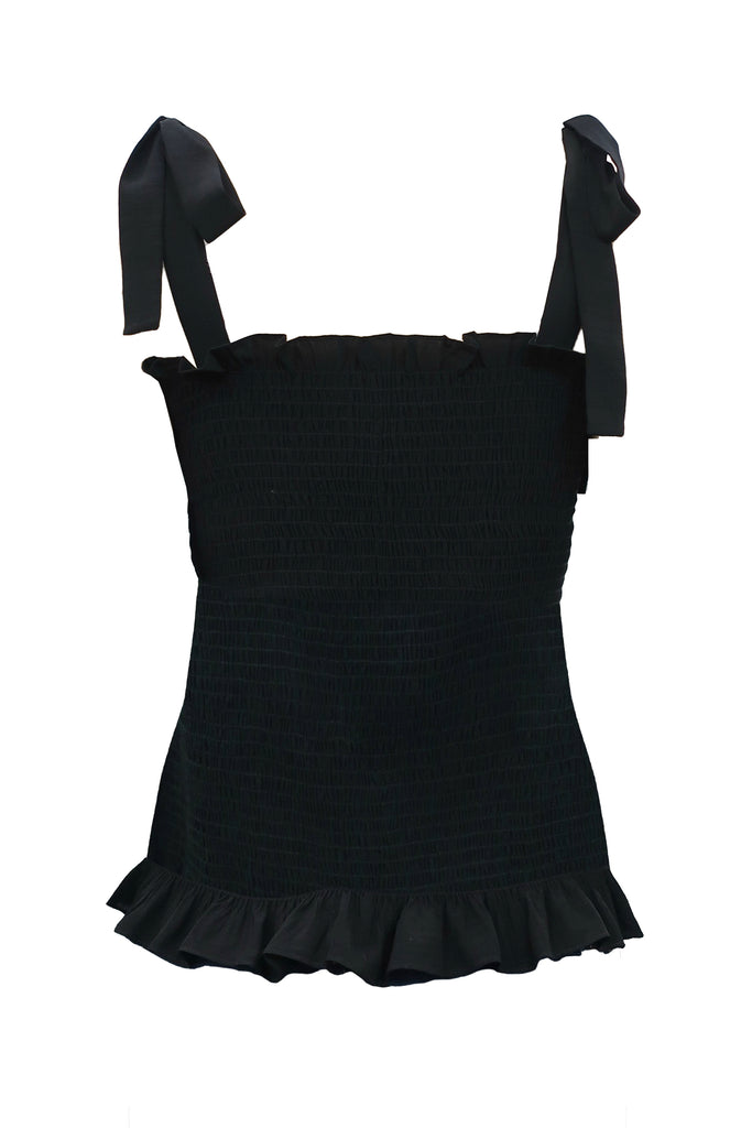 Traffic People Holy Moly Stretch Sleeveless Top in Black Front View Image