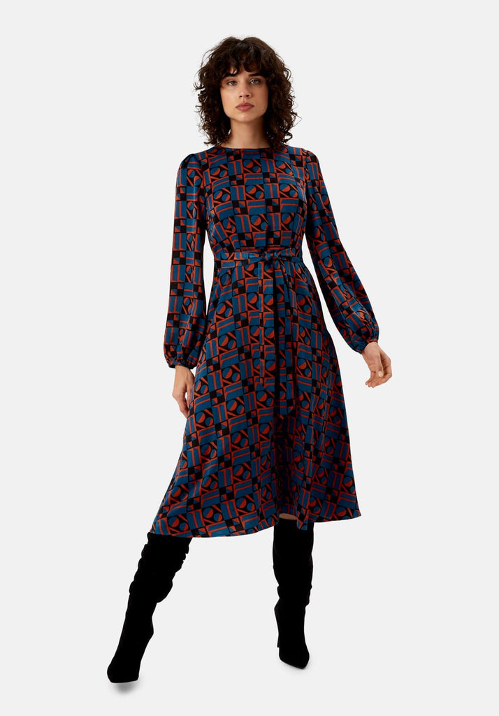 Traffic People Mood Satin Long Sleeve Midi Dress in Blue and Rust Red Front View Image