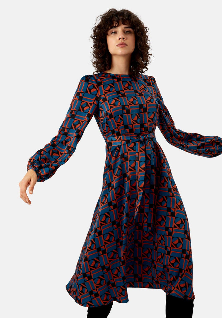 Traffic People Mood Satin Long Sleeve Midi Dress in Blue and Rust Red Side View Image